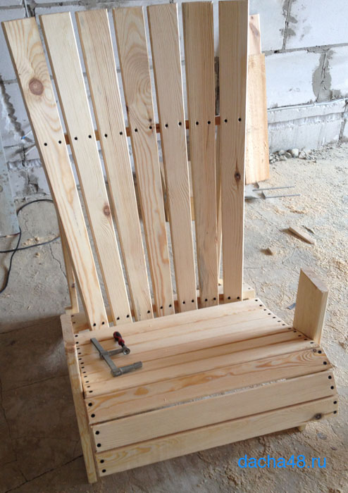 Сборка спинки кресла Адирондак