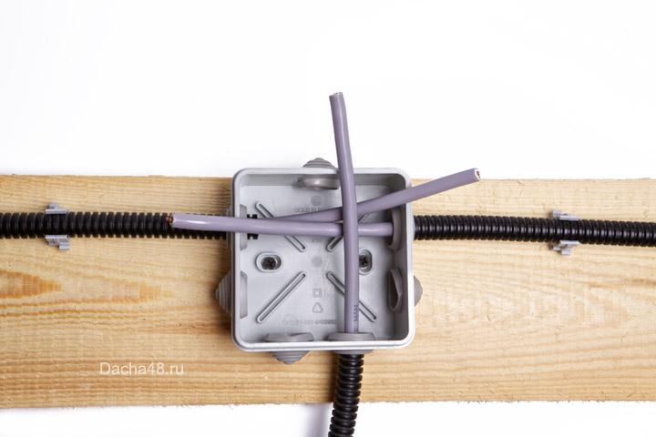 Распаечная коробка с проводами наружу
