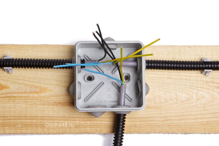 Распаечная коробка с проводами
